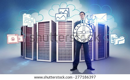 Corporate warrior against composite image of cloud computing doodle - stock photo