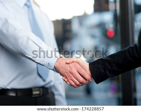 Corporates shaking hands after closing a deal - stock photo