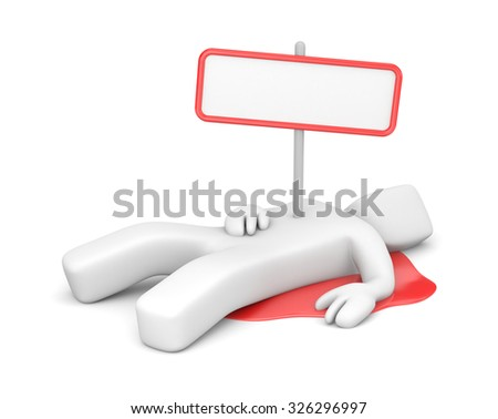 Corpse with a sign - stock photo