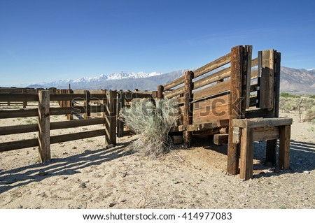 corral and cattle chute in the Owens Valley of California - stock photo
