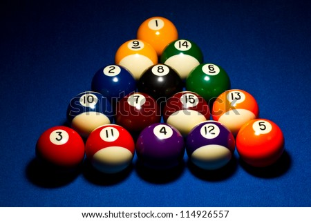 Correct 8ball break sequence. Dramatic lighting on blue felt. - stock photo