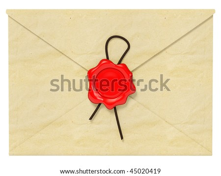 correspondence with red wax on white - stock photo