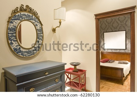 corridor and a bedroom in aperture - stock photo