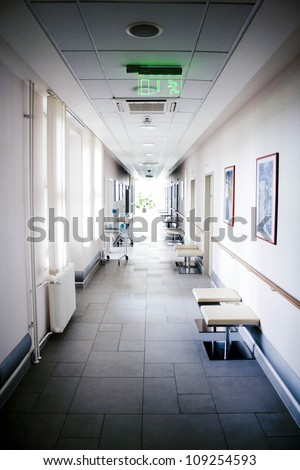 Corridor at hospital - stock photo