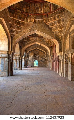 Corridor at Lodhi Tomb, New Delhi - stock photo