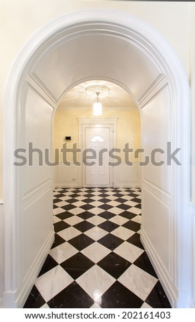 Corridor decorate in classic style - stock photo