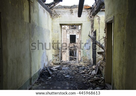 corridor  in abandoned  building - stock photo