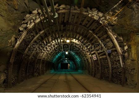 Corridor in mine - stock photo