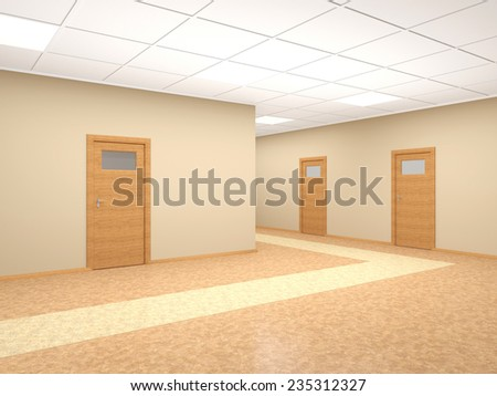 Corridor in modern office interior with several doors and walls of beige. 3D render - stock photo