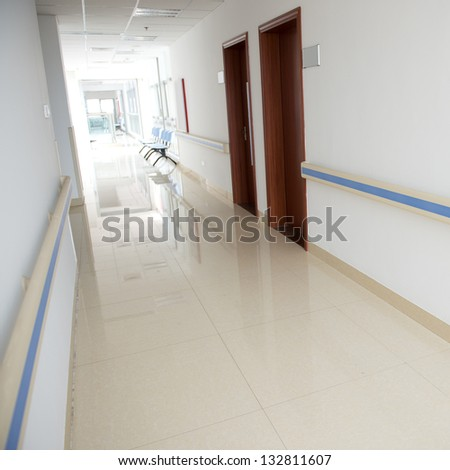 corridor in the hospital. hospital interior - stock photo