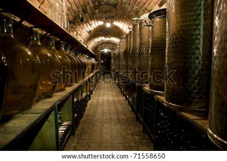 Corridor in the traditional wine cellar - stock photo