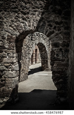 corridor of an ancient castle - stock photo