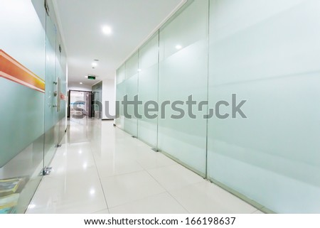 corridor of modern office building - stock photo