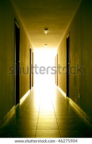 Corridor to light. Element of design. - stock photo