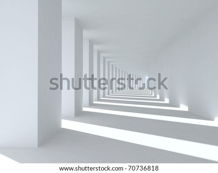Corridor with columns and deep shadows. Illustration - stock photo