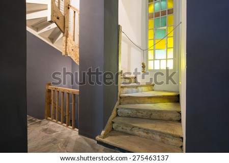 Corridor with stairs in Thai restaurant - stock photo