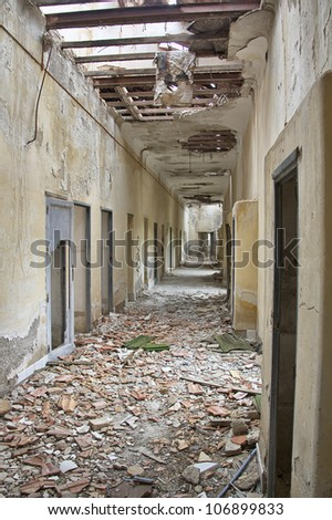 corridors and roofs destroyed house broken - stock photo