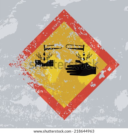Corrosion hazard grunge sign. - stock photo