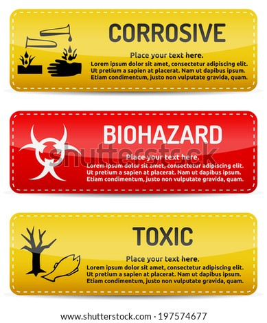 Corrosive, Biohazard, Toxic - Danger, hazard sign on warning banner with light gradient reflection and shadow on white background - stock photo