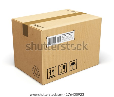 Corrugated cardboard box package isolated on white background - stock photo
