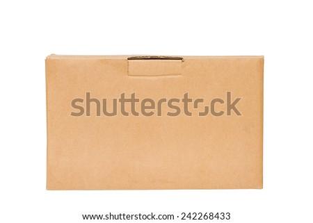 Corrugated cardboard boxes on white background - stock photo