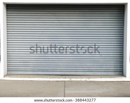 corrugated metal sheet,white Slide door ,roller shutter texture - stock photo