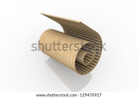 Corrugated paper rolls - stock photo