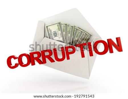 corruption. bribe. white envelope with money. 3d illustration isolated on white background - stock photo