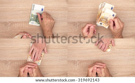 Corruption concept, man giving bribe money to woman, top view action sequence of images collage - stock photo
