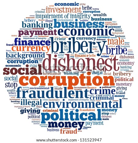 Corruption in word collage - stock photo