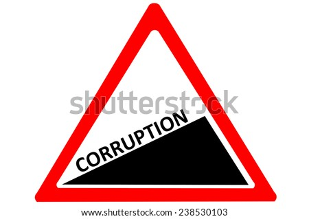 Corruption increasing warning road sign isolated on pure white background - stock photo
