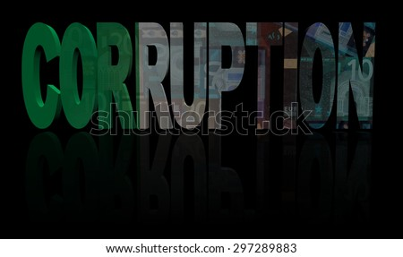 Corruption text with Italian flag and currency illustration - stock photo