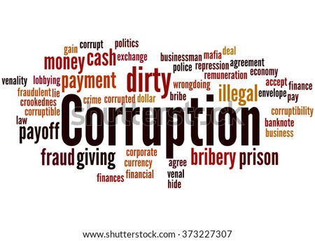 Corruption, word cloud concept on white background.   - stock photo