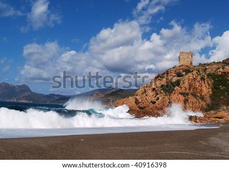 Corsica beach with Genuese tower, Porta, Corsica, France - stock photo