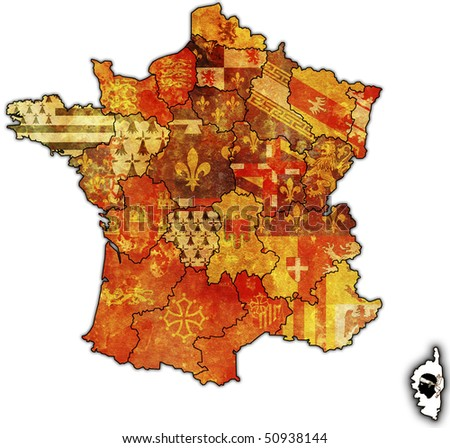 Corsica on old map of france with flags of administrative divisions - stock photo