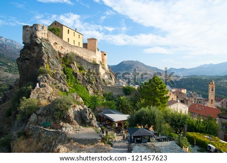 Corte, old capital of Corsica, and city of Pascal Paoli - stock photo