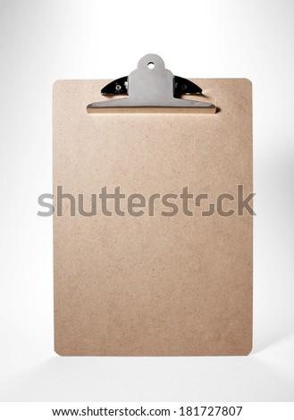 Cortical clip board on white background - stock photo