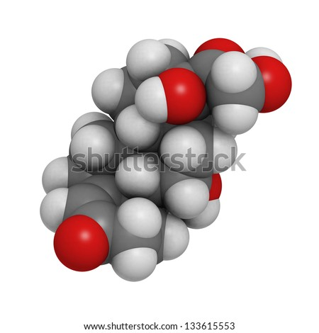 Cortisol (hydrocortisone) stress hormone, molecular model. Atoms are represented as spheres with conventional color coding: hydrogen (white), carbon (grey), oxygen (red) - stock photo