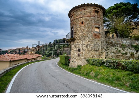 Cortona is one of the most ancient Etruscan town and given the elevated position 600 s.l.m. It enjoys a wonderful view over the whole Valdichiana - stock photo