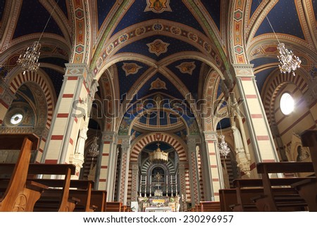 CORTONA, ITALY - SEPTEMBER 18, 2014:   Church of Santa Margherita (13th century) interior view of the central nave - stock photo