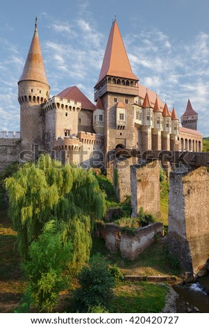 Corvin Castle in Hunedoara is built in Renaissance-Gothic, Romania - stock photo