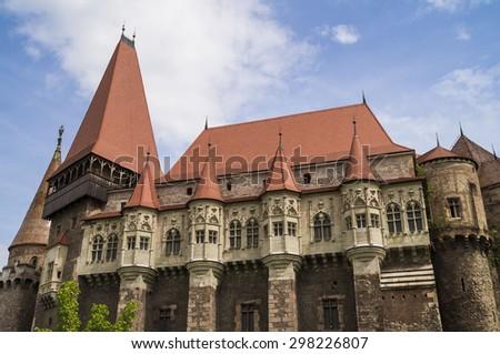 Corvin Castle or Hunyadi Castle in Hunedoara, Romania - stock photo