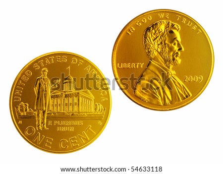 Cose up of Gold Color Penny. - stock photo