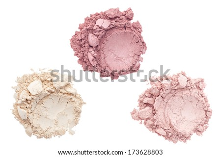Cosmetic and makeup powder isolated on white background - stock photo