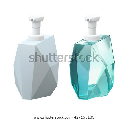 Cosmetic blank packaging glass bottle product, on white background isolated. Packshot design for base model and realistic material model of 3d Rendering - stock photo