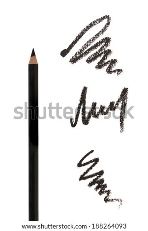 Cosmetic eyeliners with strokes on white background - stock photo