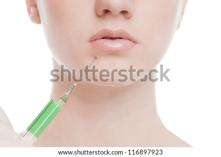 Cosmetic injection in the female face. Lips zone. Isolated on white - stock photo