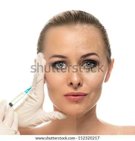 Cosmetic injection to the pretty Beautiful woman face and beautician hands with syringe. Face of young woman before and after the procedure. Isolated on the white background. - stock photo