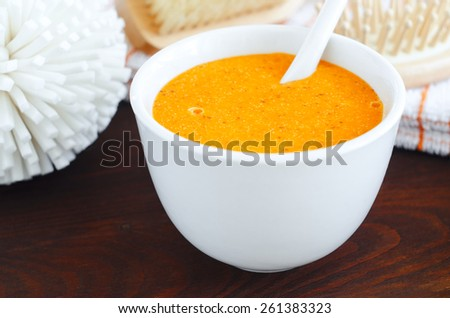 Cosmetic mask (scrub) in a bowl - stock photo
