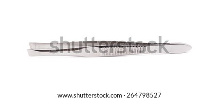 Cosmetic metal tweezers isolated over the white background - stock photo